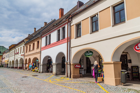 LETOHRAD, CZECHIA - AUGUST 1, 2016: Traditional town houses with archways on Vaclavske namesti (Wenceslas Square) in Letohrad town, Czechia