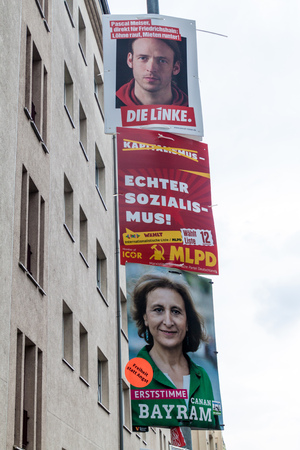 BERLIN, GERMANY - SEPTEMBER 1, 2017: Election posters of various parties before 2017 Federal election.