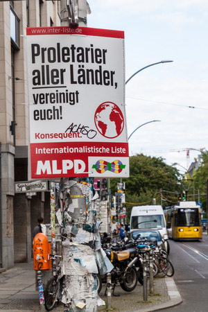 BERLIN, GERMANY - AUGUST 23, 2017: Election poster of MLPD party before 2017 Federal election. 報道画像