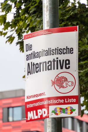 BERLIN, GERMANY - SEPTEMBER 1, 2017: Election posters of MLPD party before 2017 Federal election.