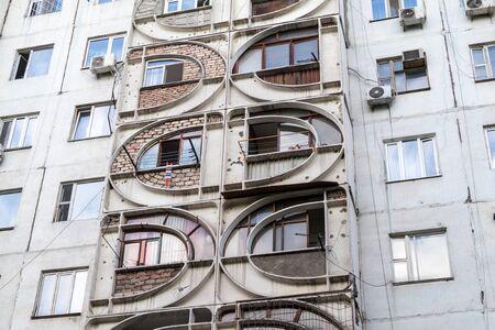 Concrete apartment building in Bishkek, capital of Kyrgyzstan. Archivio Fotografico