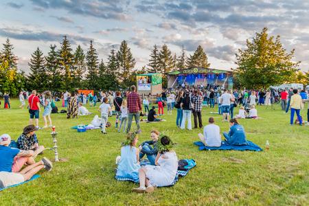 DUDUTKI, BELARUS - JUNE 17, 2017: Open Air Kupal festival in Dudutki Open Air Museum, Belarus