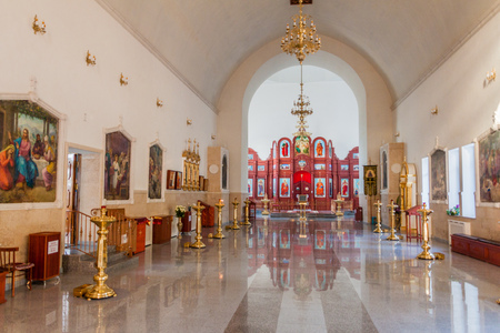 BISHKEK, KYRGYZSTAN - MAY 7, 2017: Interior of Holy Resurrection russian orthodox cathedral in Bishkek, Kyrgyzstan
