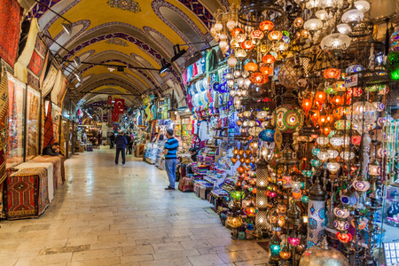 ISTANBUL, TURKEY - MAY 1, 2017: One of the alleys of the Grand Bazaar in Istanbul.