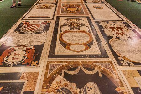 VALLETTA, MALTA - NOVEMBER 7, 2017: Floor of St John's Co-Cathedral in Valletta, Malta