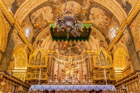 VALLETTA, MALTA - NOVEMBER 7, 2017: Interior of St John's Co-Cathedral in Valletta, Malta