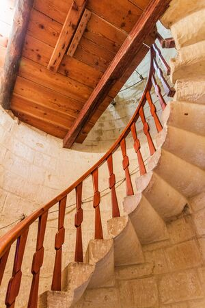 Stairway in Ta' Kola Windmill in Xaghra village on Gozo island, Malta Stock Photo