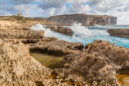 Cliffs of Dwejra on the island of Gozo, Malta