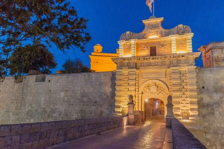 Gate of the fortified city Mdina in the Northern Region of Malta