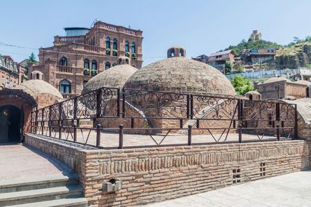 Cupolas of a bathhouse in the Old town of Tbilisi, Georgia Stok Fotoğraf