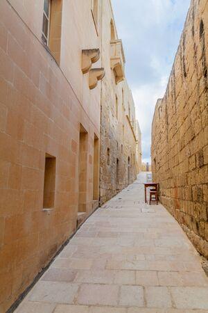 Street in the Cittadella, citadel of Victoria, Gozo Island, Malta