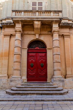 Door of a house in the fortified city Mdina in the Northern Region of Malta