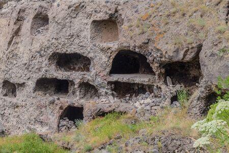 Cave monastery Vanis Kvabebi carved into a cliff, Georgia Stok Fotoğraf