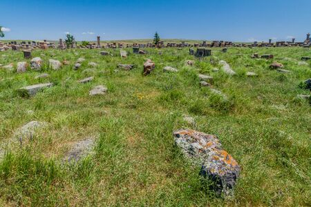 Stone crosses known as khachkars near Noratus village, Armenia