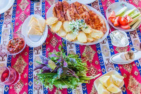 Food in local restaurant near Sevan lake, Armenia