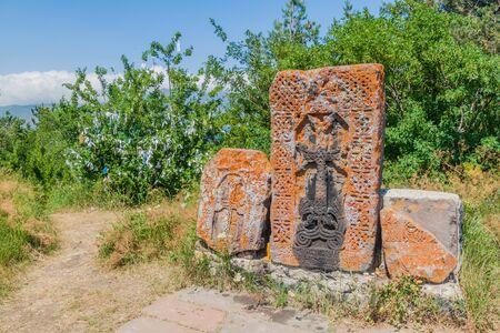 Stone crosses (Khachkar) at Sevanavank monastery, Armenia