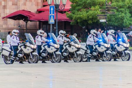 YEREVAN, ARMENIA - JULY 5, 2017: Police on motorcycles during the celebrations of the Constitution Day and Day of State Symbols in Yerevan, capital of Armenia