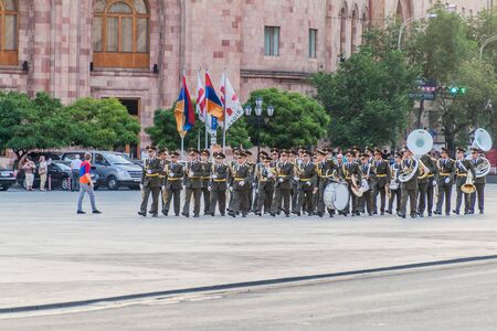 YEREVAN, ARMENIA - JULY 5, 2017: Military parade during the celebrations of the Constitution Day and Day of State Symbols in Yerevan, capital of Armenia