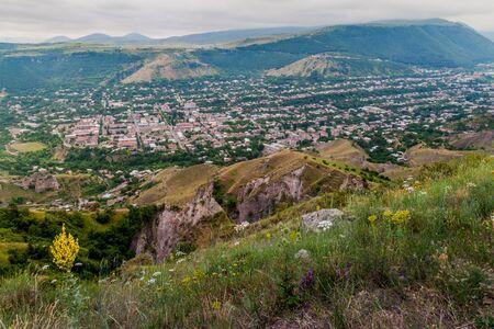 Pasture and aerial view of Goris town, Armenia