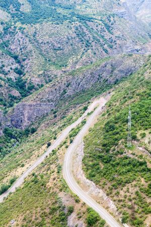 Road between Tatev and Halidzor in Vorotan river valley, Armenia. 스톡 콘텐츠