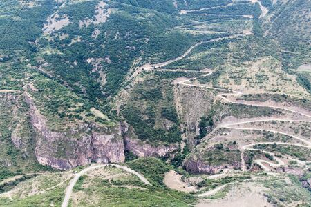Vorotan river valley near Tatev, Armenia. Road between Tatev and Halidzor visible.