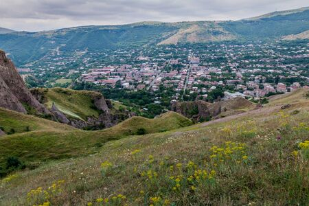 Rocky landscape and aerial view of Goris town, Armenia