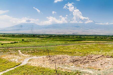 Ararat mountain as viewed from Khor Virap monastery in Armenia