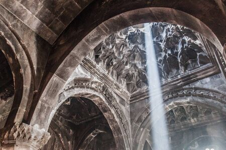 Interior of Geghard monastery in Armenia