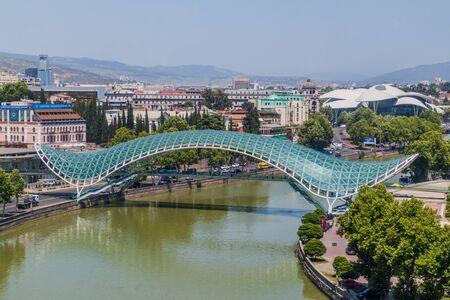 TBILISI, GEORGIA - JULY 17, 2017: View of the Peace Bridge in Tbilisi, Georgia Stok Fotoğraf