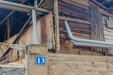 Gas pipelines through a wooden house in Garni village in Armenia