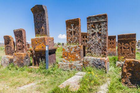 Stone crosses known as khachkars near Noratus village, Armenia