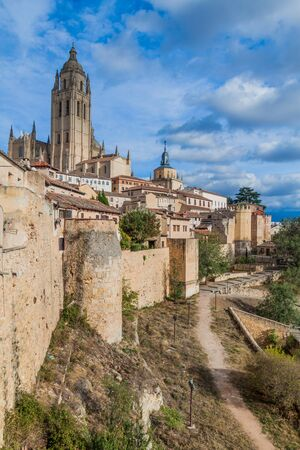 View of the old town in Segovia, Spain 스톡 콘텐츠