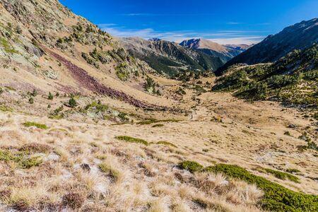 Landscape of Pyrenees mountains near Coma Pedrosa peak, Andorra