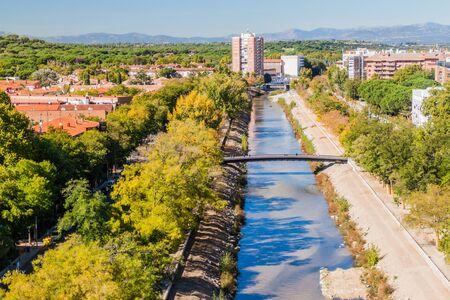 River Manzanares in Madrid, Spain Stok Fotoğraf