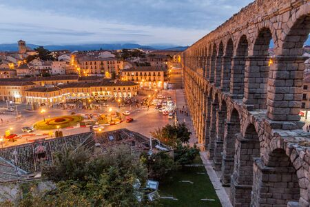 SEGOVIA, SPAIN - OCTOBER 20, 2017: View of the Roman Aqueduct in Segovia, Spain
