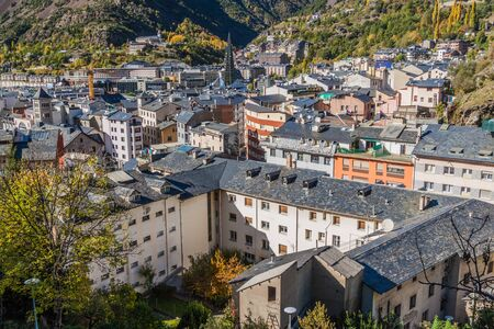Aerial view of Escaldes-Engordany town, Andorra