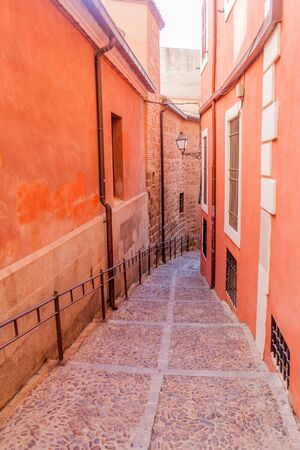 Narrow alley in the old town of Toledo, Spain