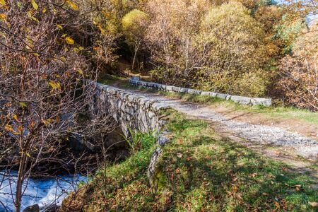 Small stone bridge in Madriu-Perafita-Claror Valley, Andorra
