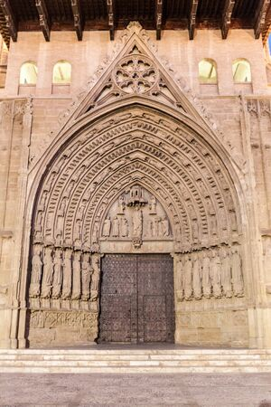 Gate of the Holy Cathedral of the Transfiguration of the Lord in Huesca, Spain. Banco de Imagens