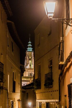 Night view of the tower of the cathedral in Toledo, Spain
