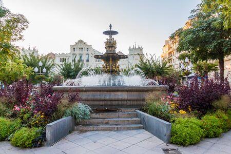 Fountain at Plaza Navarra square in Huesca, Spain. 写真素材