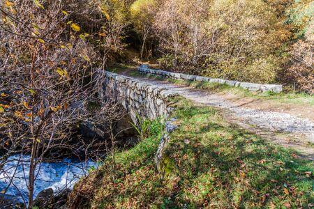 Small stone bridge in Madriu-Perafita-Claror Valley, Andorra