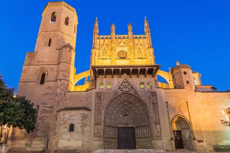 Evening view of the Holy Cathedral of the Transfiguration of the Lord in Huesca, Spain. Фото со стока