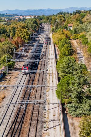 Railway near Principe Pio station in Madrid, Spain