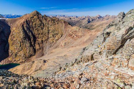 Rocky hills in Parc Natural Comunal de les Valls del Comapedrosa national park in Andorra