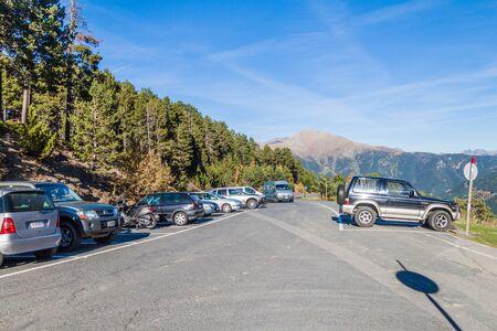 LA SERRA, ANDORRA - OCTOBER 26, 2017: Parking lot at La Serra Ski resort, Andorra