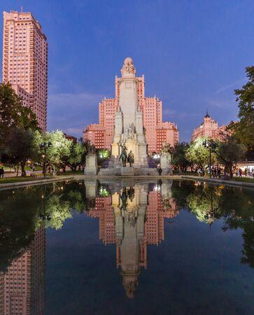 Cervantes monument at Plaza de Espana square in Madrid, Spain