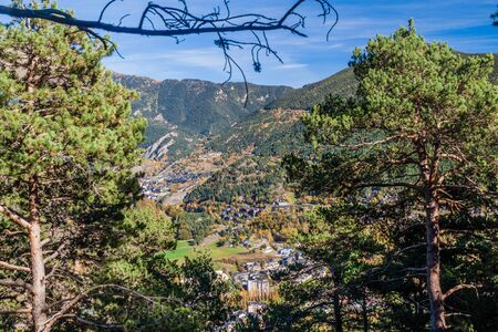 View of a valley with La Massana village, Andorra