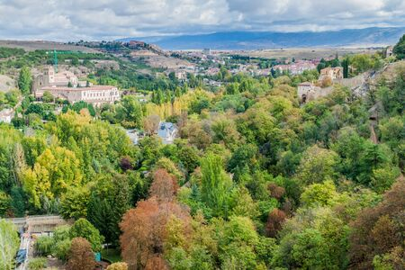 Landscape with trees and buildings near Segovia, Spain Banco de Imagens