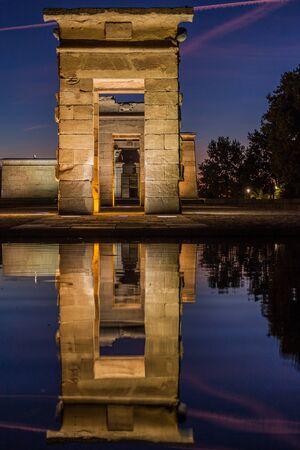 Evening view of the Templo de Debod in Madrid, Spain